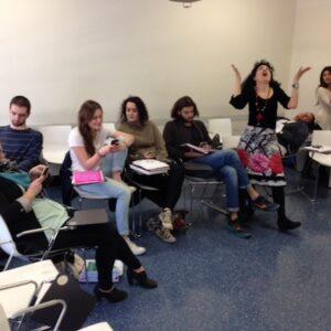 Caterina Bertolotto con la sua classe di studenti d'Italiano della New School