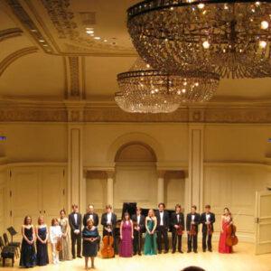 I vincitori del premio Ibla sul palco della Carnegie Weill Hall con la baronessa Zerilli Marimò