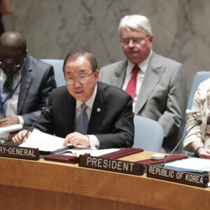 Il segretario generale dell'ONU, Ban Ki-moon mentre parla al Consiglio di Sicurezza - UN Photo/Devra Berkowitz