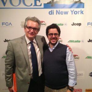 Giacomo Di Girolamo (a destra) con il direttore de La VOCE Stefano Vaccara alla recente festa del 25 aprile tenuta alla Casa Italiana NYU