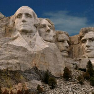 Mount Rushmore, Sud Dakota: le sculture dei presidenti (da sin) George Washington, Thomas Jefferson, Theodore Roosevelt e Abraham Lincoln