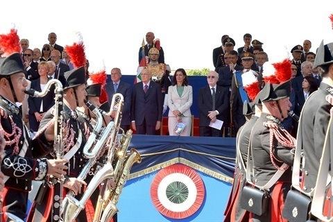 Il Presidente della Repubblica Giorgio Napolitano con i presidenti di Camera e Senato Laura Boldrini e Pietro Grasso alla parata del 2 giugno