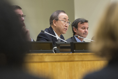 UN Secretary General Ba Ki-moon and Italy's Ambassador Sebastiano Cardi (UN Photo/Mark Garten)
