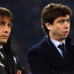 L'allora allenatore della Juventus Antonio Conte con il Presidente della Juventus Andrea Agnelli