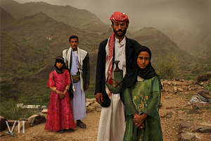 Eight-year old Tahani with her husband 27-year old husband Majed along withTahani's former classmate Ghada, also 8, with her husband, Hajjah. Yemen,Summer 2010. Photo Credit: © Stephanie Sinclair/VII/Tooyoungtowed.org