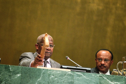 Sam Kahamba Kutesa (left), President of the sixty-ninth session of the General Assembly, chairs the concluding meeting of the session's general debate. At his side is Tegegnework Gettu, Under Secretary General for General Assembly and Conference Management