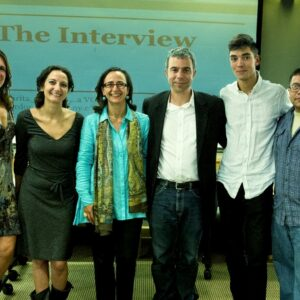 Left to right: Enza Antenos-Conforti, Maurita Cardone, Teresa Fiore, Giuseppe Malpasso, Jarrett Strenner and Omar Portilla at the presentation of the project Business Italian Style at Montclair State University