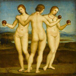 Le Tre Grazie di Raffaello, dipinto a olio su tavola (17x17) databile al 1503-1504 circa e conservato nel Museo Condé di Chantilly, Francia