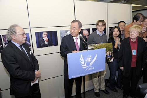 Giampaolo Pioli (a sin) con il Segretario Generale dell'ONU Ban Ki-moon