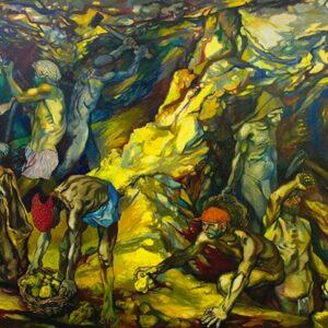 Un dipinto di Renato Guttuso: La zolfara, 1953, olio su tela, cm 201,5 x 311