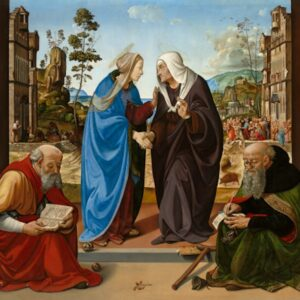 The Visitation with Saint Nicholas and Saint Anthony Abbot, c. 1489/1490 oil on panel, 184.2 x 188.6 cm (72 1/2 x 74 1/4 in.) National Gallery of Art, Washington, Samuel H. Kress Collection