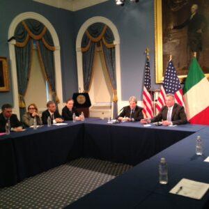 Il ministro Gentiloni con il sindaco di New York Bill de Blasio