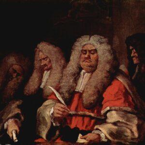 La figura del magistrato nel dipinto del pittore inglese William Hogarth (1750)