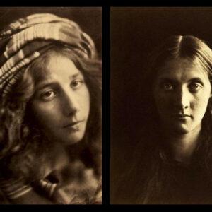 Due ritratti di Julia Margaret Cameron. A sinistra: A Study of the Cenci, 1868. A destra: Julia Stephen