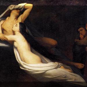 Ary Scheffer, Les ombres de Francesca da Rimini et de Paolo Malatesta apparaissent à Dante et à Virgile, 1835