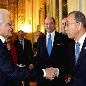 Il presidente Sergio Mattarella con il Segretario Generale dell'ONU Ban Ki-moon al Quirinale