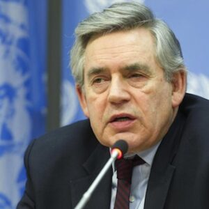 Gordon Brown durante la conferenza stampa all'ONU