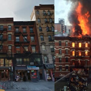121 Second Avenue before and after Thursday's explosion