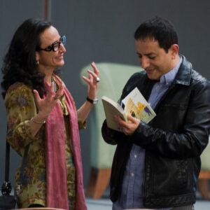 Amara Lakhous con l'autrice dell'intervista, Teresa Fiore