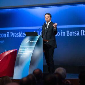 L'intervento del presidente del Consiglio Matteo Renzi il mese scorso alla sede della Borsa Italiana a Milano (Foto: Tiberio Barchielli)