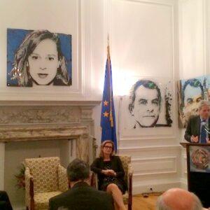 Da sin. l'ambasciatore Claudio Bisogniero, la console generale Natalia Quintavalle e il ministro degli Esteri Paolo Gentiloni