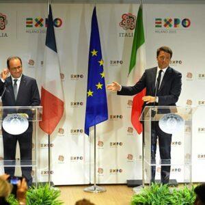 Il presidente francese Francois Hollande con il premier Matteo Renzi all'Expo di Milano