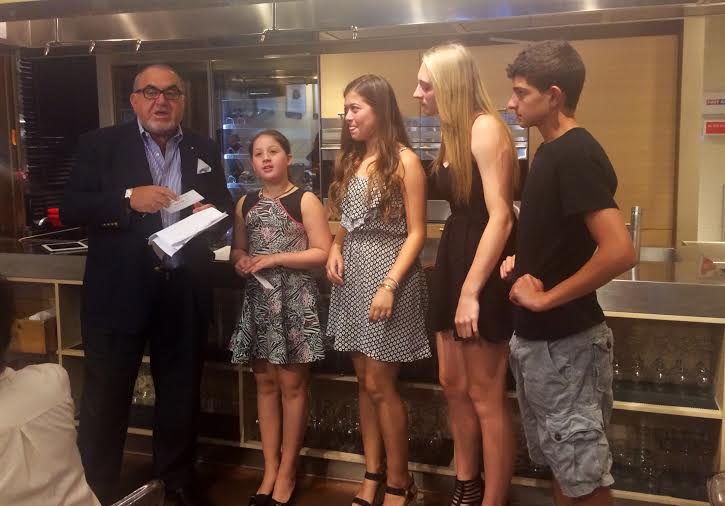 Alyssa Politioski, Jordyn Horowitz, Gabriella Kurczeski, and Robert McCulley with Berardo Paradiso