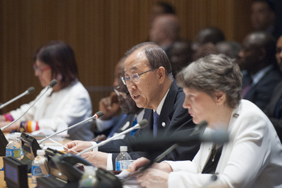 Secretary-General Ban Ki-moon addresses the International Ebola Recovery Conference