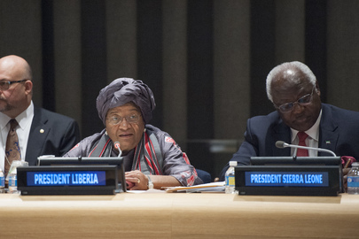 Ellen Johnson Sirleaf (centre), President of the Republic of Liberia, addresses the International Ebola Recovery Conference