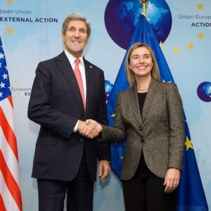 Federica Mogherini with Secretary of State John Kerry