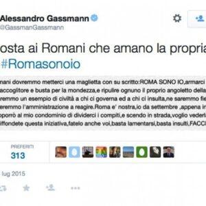 Il twit di Alessandro Gassman con cui l'attore ha lanciato l'iniziativa romasonoio