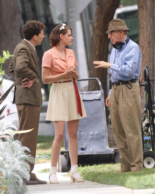 sul set dell'ultimo film di Allen. Foto: www.woodyallenpages.com