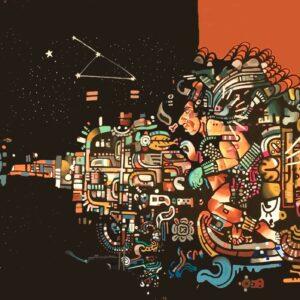 """El vuelo de Pakal,"""" a mural in Tulum, Mexico, by Giorgio Casu"""