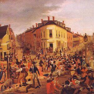I Five Points, una zona di Manhattan ad alta densità di irlandesi, in un dipinto di George Catlin del 1827
