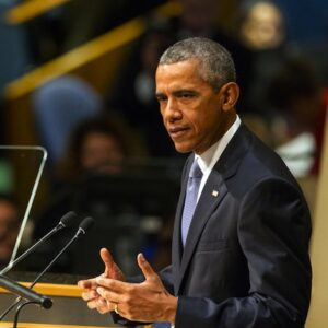 US President Barack Obama addresses the general debate of the General Assembly's seventieth session. (UN Photo/Cia Pak)