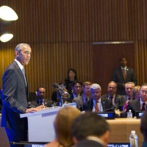Il presidente americano Barack Obama durante il suo intervento. Foto ONU/Evan Schneider