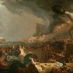 La distruzione dell'Impero romano, di Thomas Cole. Dipinto allegorico (ispirato molto probabilmente al sacco di Roma dei Vandali del 455), quarto della serie