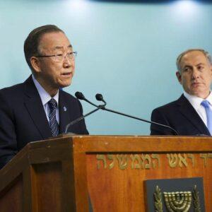 Il Segretario Generale dell'ONU Ban Ki-moon con il Primo Ministro israeliano Benjamin Netanyahu durante la conferenza stampa a Gerusalemme (UN Photo/Rick Bajornas)
