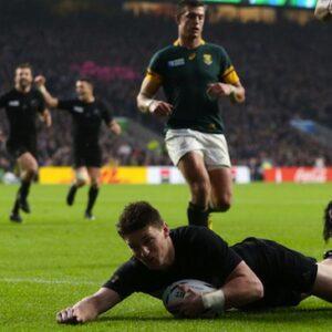 Un momento della partita Nuova Zelanda-Sud Africa