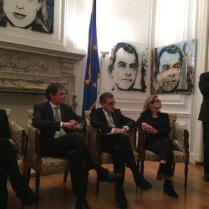 Da sin. Fucsia Nissoli, Giuseppe Conte, Salvatore Ponticelli, Natalia Quintavalle e Pierpaolo Vargiu
