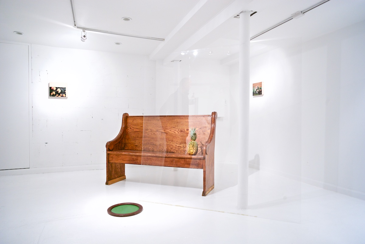 Installation view, 2014 church bench, plexiglass, wood, pineapple, oil paintings.
